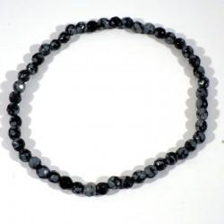 Bracelet en Obsidienne neige perles facettées 4mm