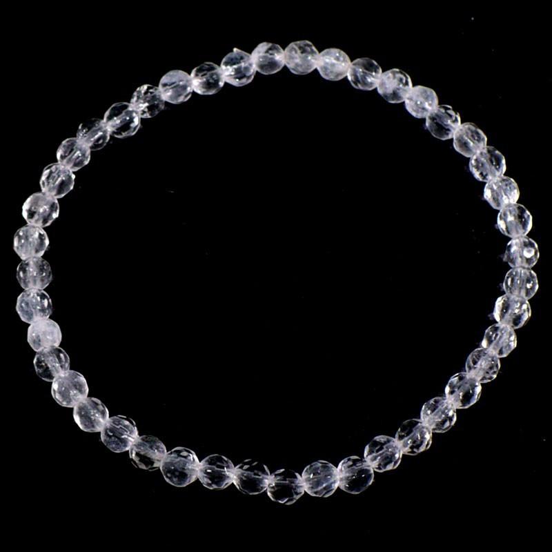Bracelet en Cristal de roche perles facettées 4mm
