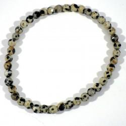 Bracelet en Jaspe dalmatien perles facettées 4mm