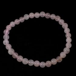 Bracelet en quartz rose perles rondes 6mm