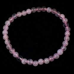 Bracelet enfant en Quartz rose perles rondes 4mm