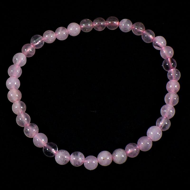 Bracelet enfant en Quartz rose perles rondes 4mm