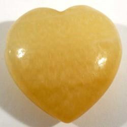 Pendentif coeur en calcite orange  3cm