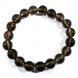 Bracelet en quartz fumé perles rondes 10mm