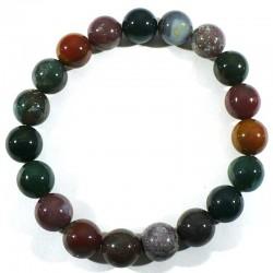 Bracelet en agate multicolore perles rondes 10mm