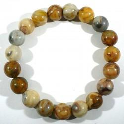 Bracelet en agate crazy lace perles rondes 10mm