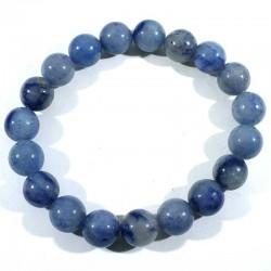 Bracelet en quartz bleu (rutile) perles rondes 10mm