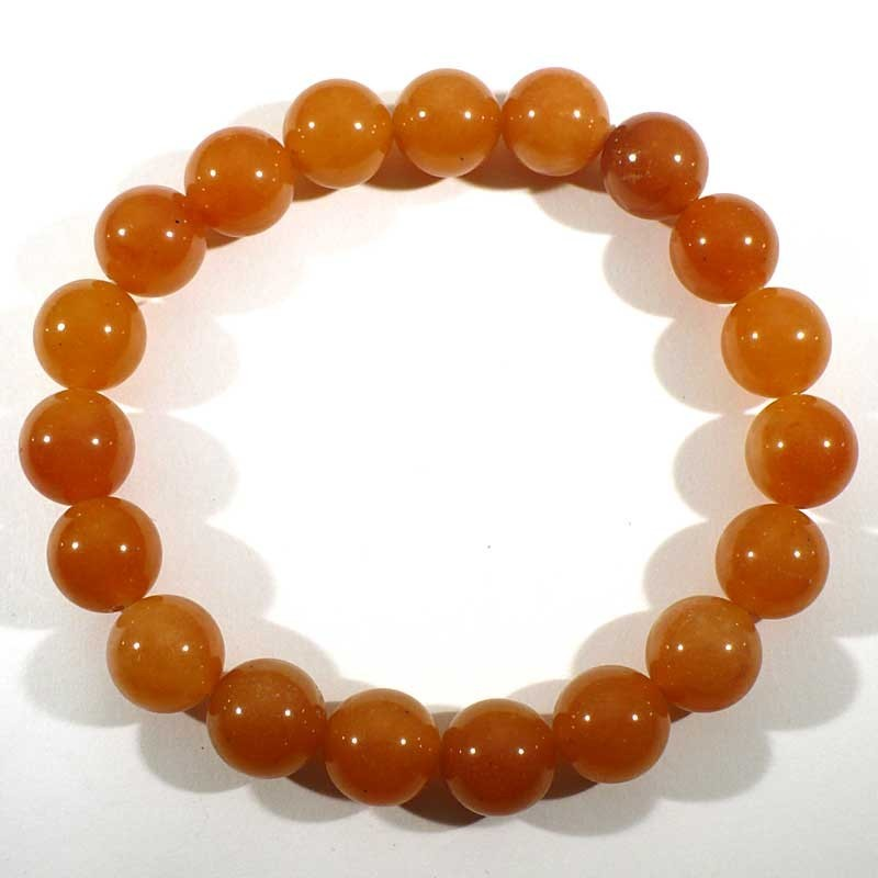 Bracelet en aventurine orange perles rondes 10mm