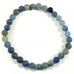 Bracelet en quartz bleu (rutile) perles rondes 6mm