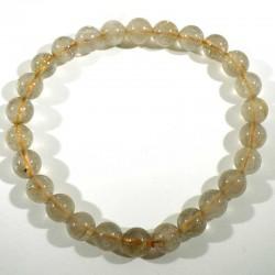 Bracelet en quartz rutile perles rondes 6mm