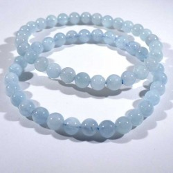 bracelet en aigue-marine perles rondes 6mm