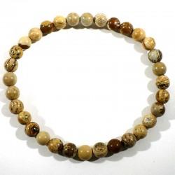 Bracelet en jaspe paysage perles rondes 6mm