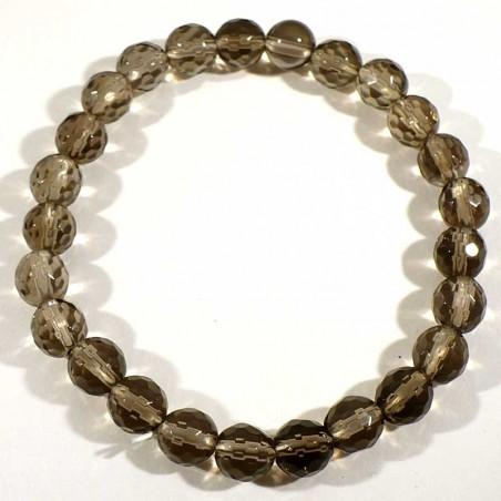 bracelet en quartz fumé perles facettées 8mm