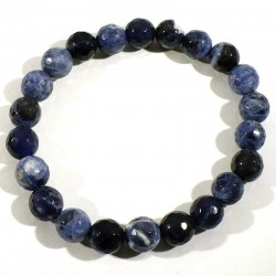 Bracelet en sodalite perles facettées 8mm