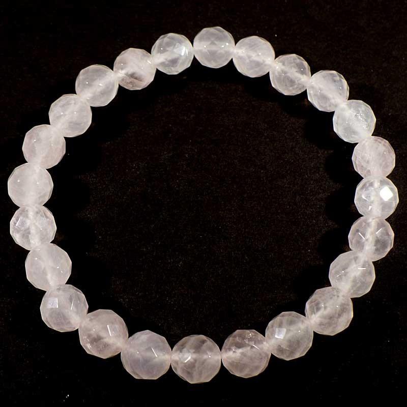 Bracelet en quartz rose perles facettées 8mm