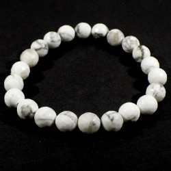 Bracelet en howlite perles facettées 8mm