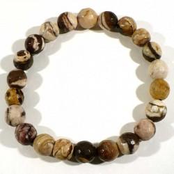 Bracelet en jaspe capuccino perles facettées 8mm