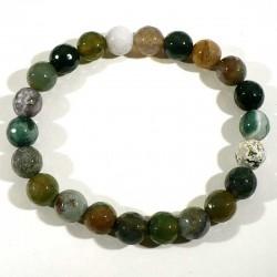 Bracelet en agate multicolore perles facettées 8mm