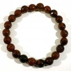 Bracelet en obsidienne acajou perles facettées 8mm