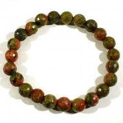 bracelet en unakite (épidote) perles facettées 8mm