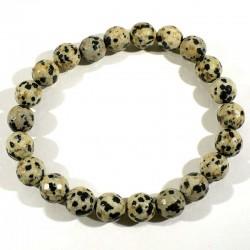 Bracelet en jaspe dalmatien perles facettées 8mm
