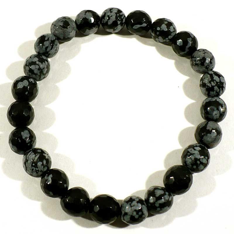 Bracelet en obsidienne neige perles facettées 8mm