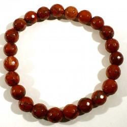 bracelet en jaspe rouge perles facettées 8mm