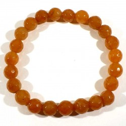 Bracelet en aventurine orange perles facettées 8mm