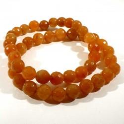 Bracelet en aventurine orange perles facettées 8mm