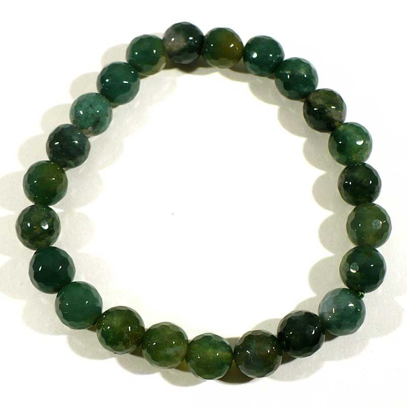 Bracelet en agate mousse perles facettées 8mm