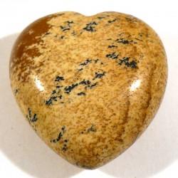 Pendentif coeur en jaspe paysage (kalahari) 3cm