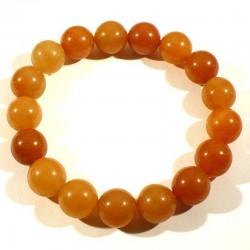 Bracelet en aventurine orange perles rondes 12mm