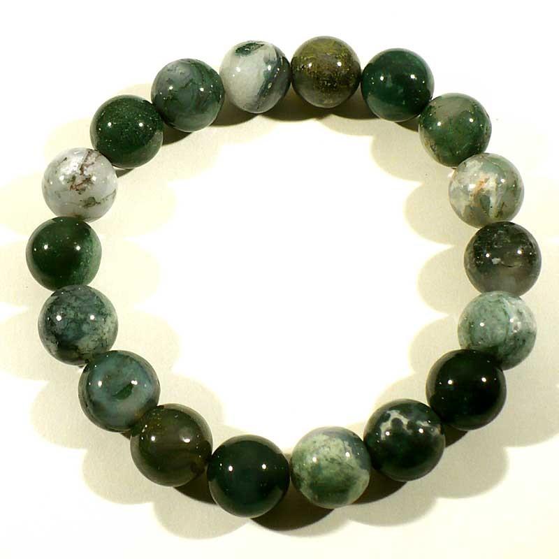 bracelet en agate mousse perles rondes 12mm