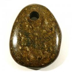 Pendentif galet plat en bronzite 4cm