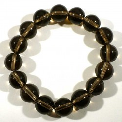 Bracelet en quartz fumé perles rondes 12mm