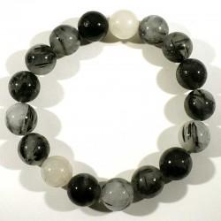 bracelet en quartz tourmaline perles rondes 12mm