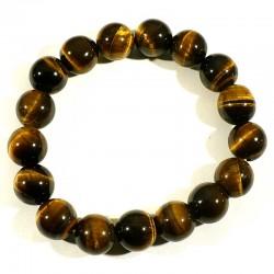 bracelet en oeil de tigre perles rondes 12mm
