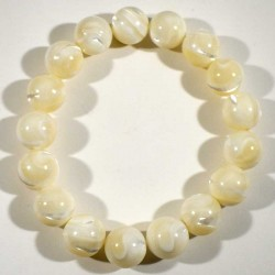 Bracelet en nacre perles rondes 12mm