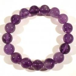 Bracelet en Améthyste perles rondes 12mm