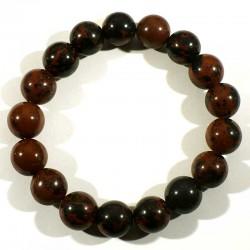 Bracelet en Obsidienne acajou perles rondes 12mm