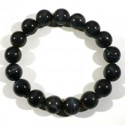 Bracelet en Oeil de Faucon perles rondes 12mm