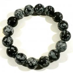 Bracelet en Obsidienne neige perles rondes 12mm