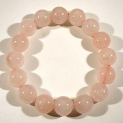 Bracelet en quartz rose perles rondes 12mm