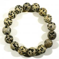 Bracelet en Jaspe dalmatien perles rondes 12mm