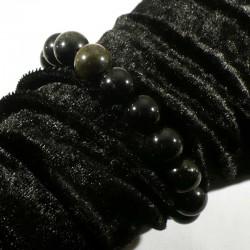 Bracelet en Obsidienne dorée perles rondes 12mm