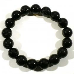 Bracelet en Tourmaline noire perles rondes 12mm
