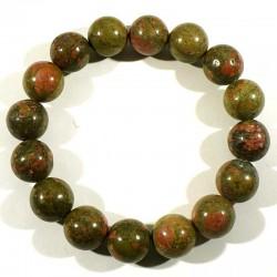 Bracelet en Unakite perles rondes 12mm