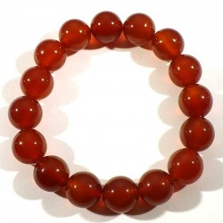 bracelet en cornaline perles rondes 12mm