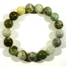 Bracelet en jade serpentine noble de chine perles rondes 12mm