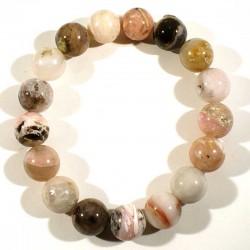 Bracelet en Opale rose perles rondes 12mm